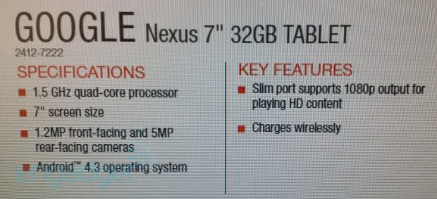 New Nexus 7 leak points to Android 4 3, dual cameras and