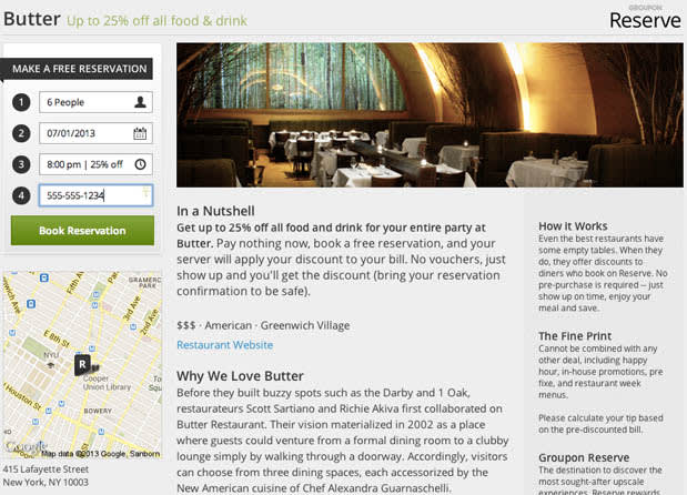 Groupon Takes On Opentable With Groupon Reserve Bundles