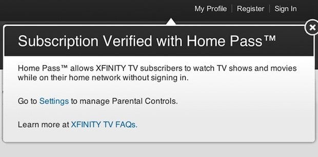 Home Pass lets Comcast subscribers watch streaming videos