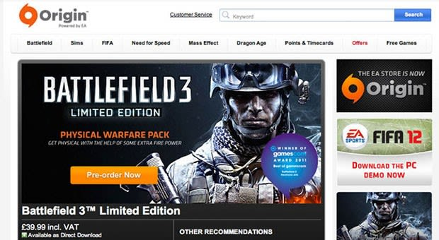 EA's Origin store now allows downloaded games to be returned