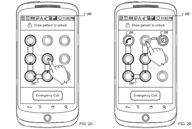Google patent launches specific apps through pattern unlock