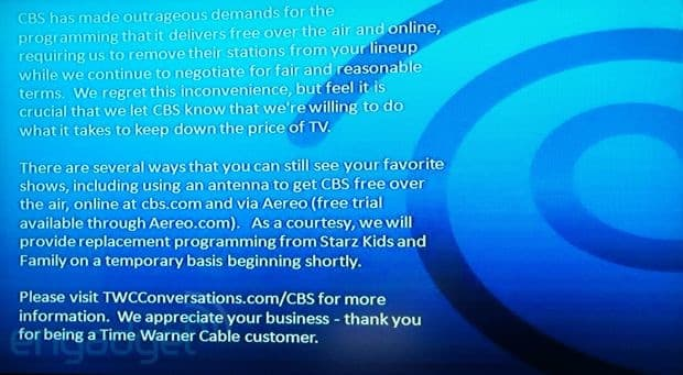 Time Warner Cable loses CBS channels, CBS says first time
