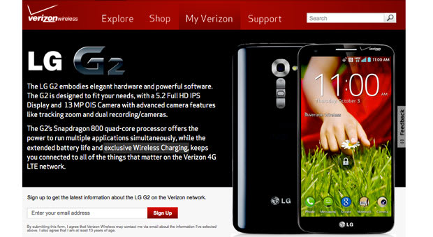Verizon claims its LG G2 variant comes with exclusive wireless charging