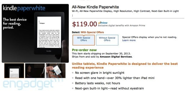 Amazon's new Kindle Paperwhite officially announced, ships