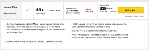 Comcast bundle ties HBO, local TV and internet together for just $40