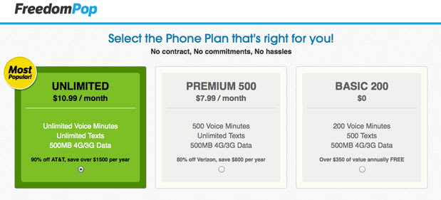 FreedomPop intros a free plan: includes 200 voice minutes, 500 texts