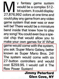 Mario Galaxy, Wii details predicted in '91 by modern day