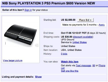 PS3 preorders up on eBay, down from eBay (or: IT BEGINS!)
