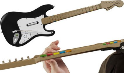 Wireless guitar works with PS2 and PS3 versions of Rock Band