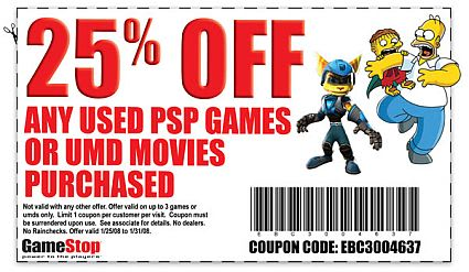 Get 25% used PSP games and movies at GameStop