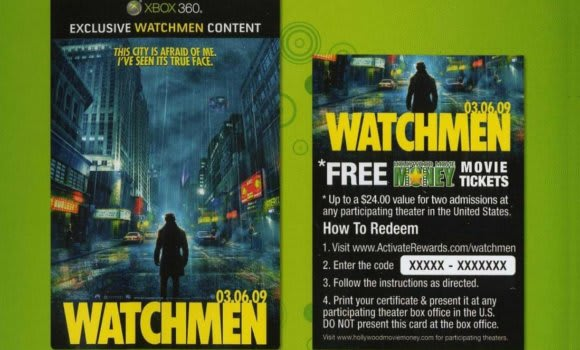 Buy Xbox Live product, get two movie tickets to Watchmen free