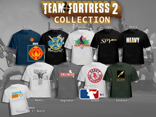 We wish these Team Fortress 2 (and Portal) concept shirts