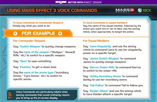 Your guide to Mass Effect 3's Kinect voice commands