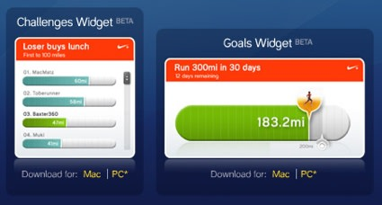 Widget Watch: Nike+ iPod Challenges and Goals widgets