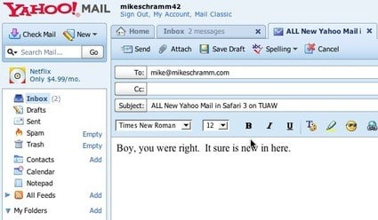 Yahoo! Mail now works with Safari 3
