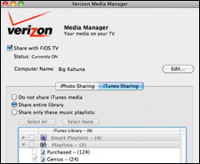 Stream iPhoto and iTunes to a FiOS DVR