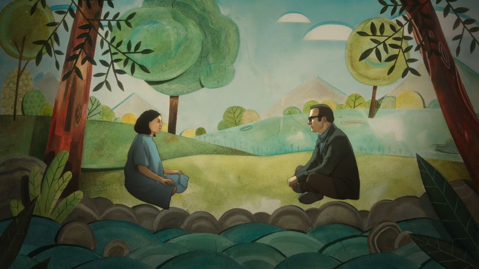 A woman in a hospital gown is sitting across from her father. They are surrounded by an animated background of trees and the sky.