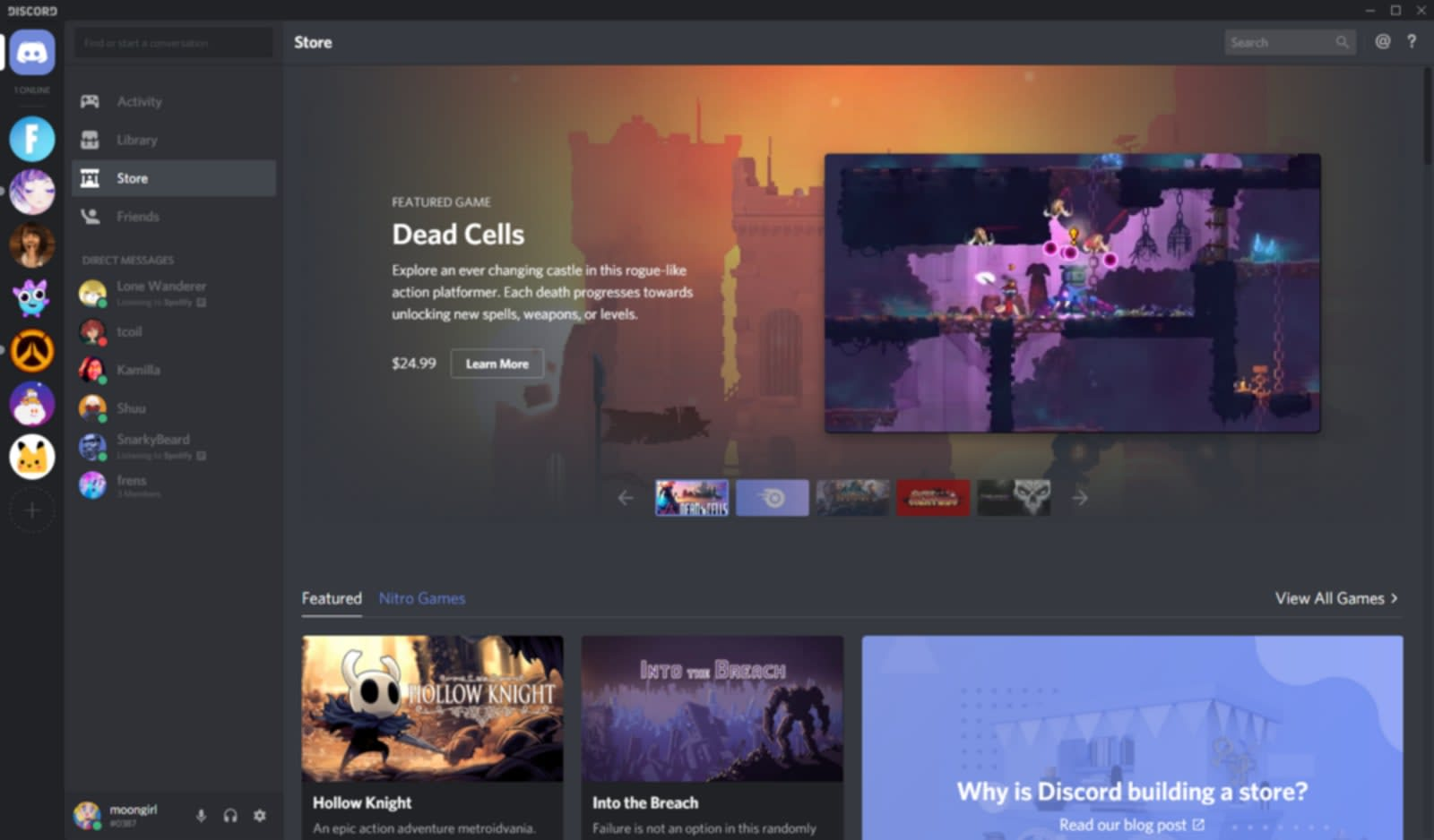 Discord's game store is open to everyone