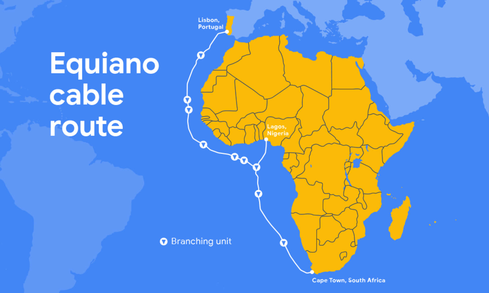 Google's next undersea internet cable will link Africa and ... on google cloud services map, google satellite map, google data center map, google internet map, google colo map, google international map,