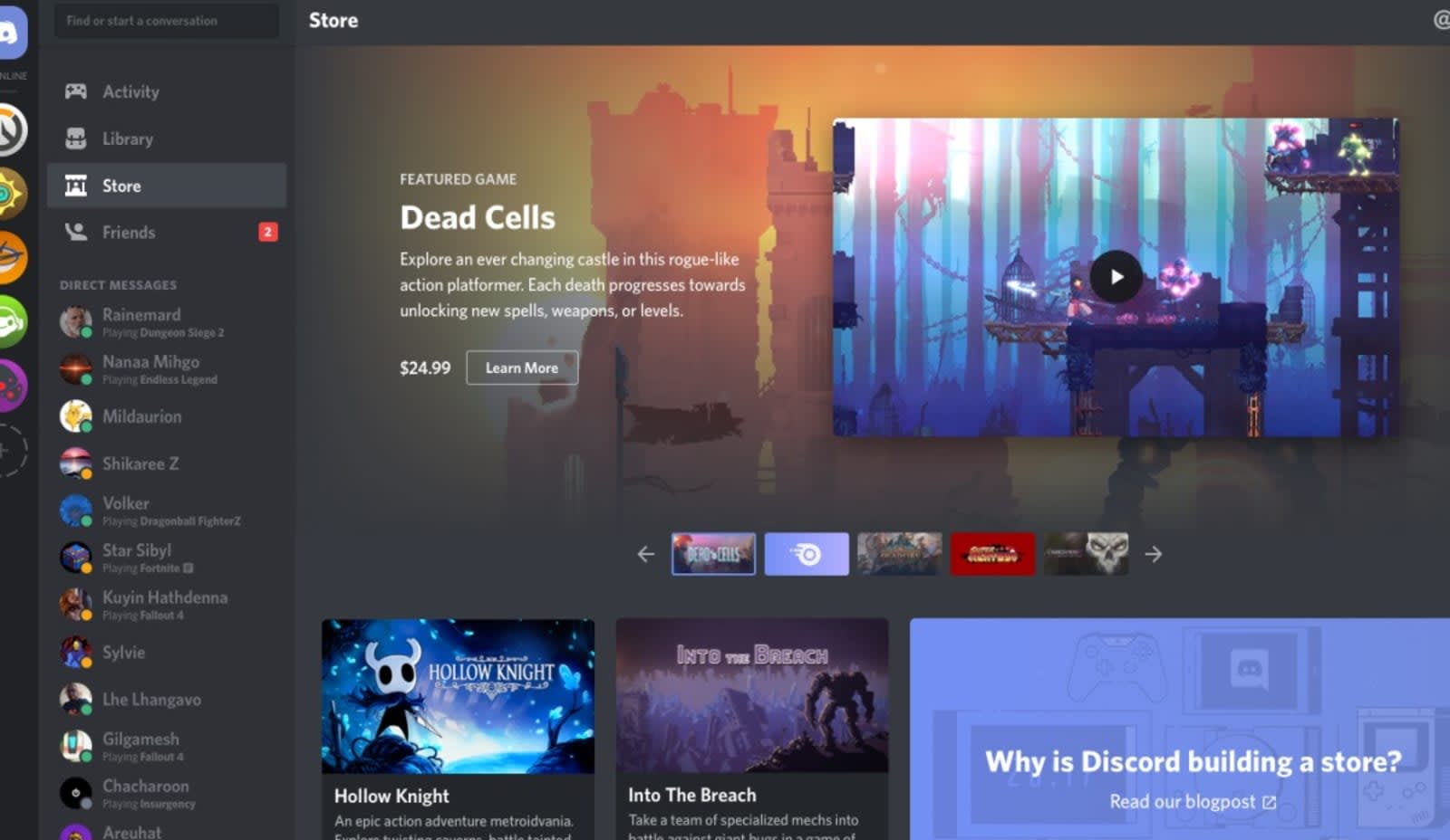 Discord now offers early access games on its PC store