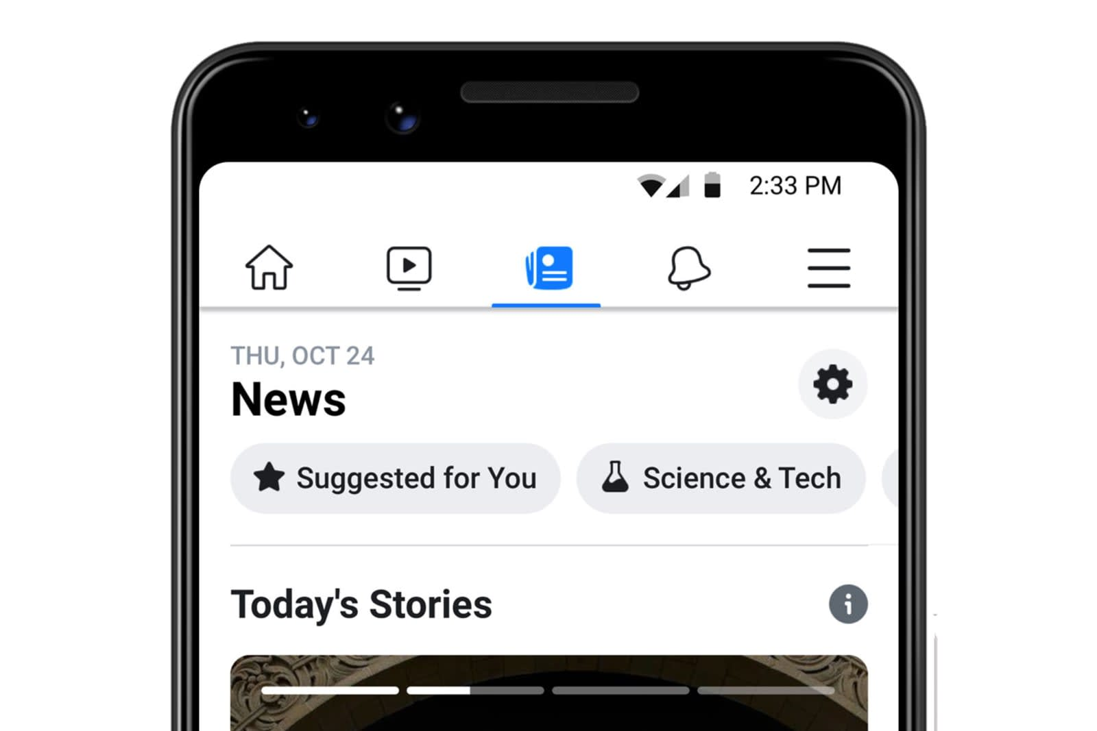 Facebook begins rolling out its curated news tab