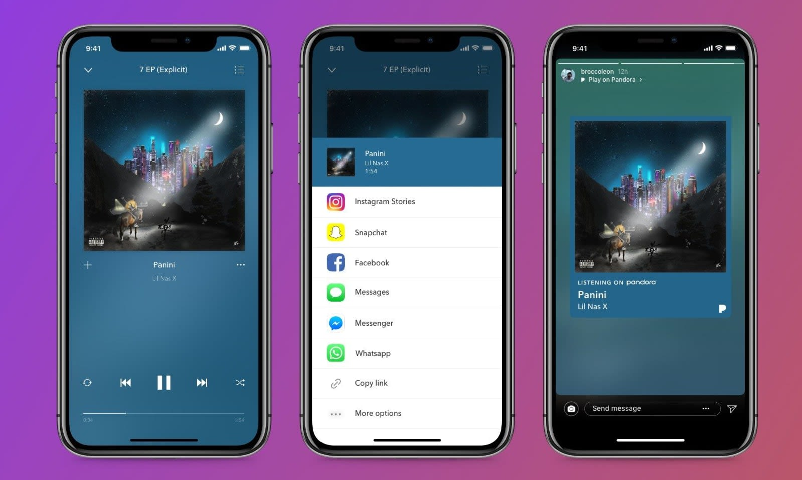 You can share Pandora music and podcasts on Instagram, if