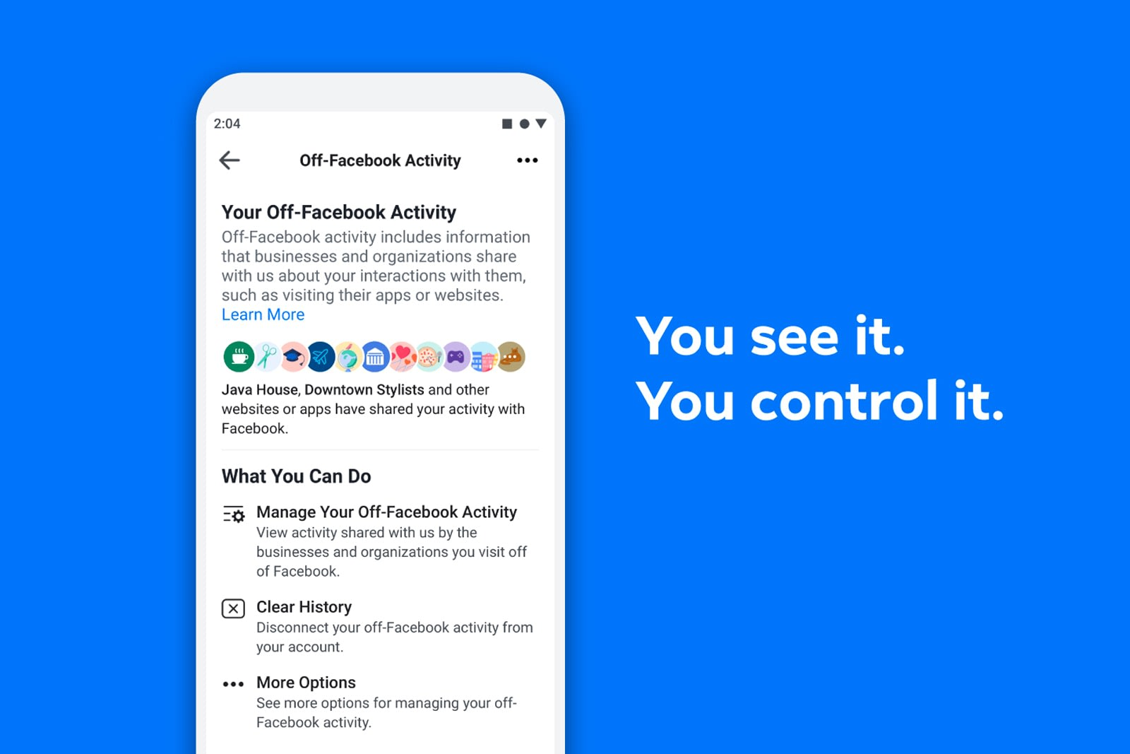 Facebook helps you control data shared from apps and websites