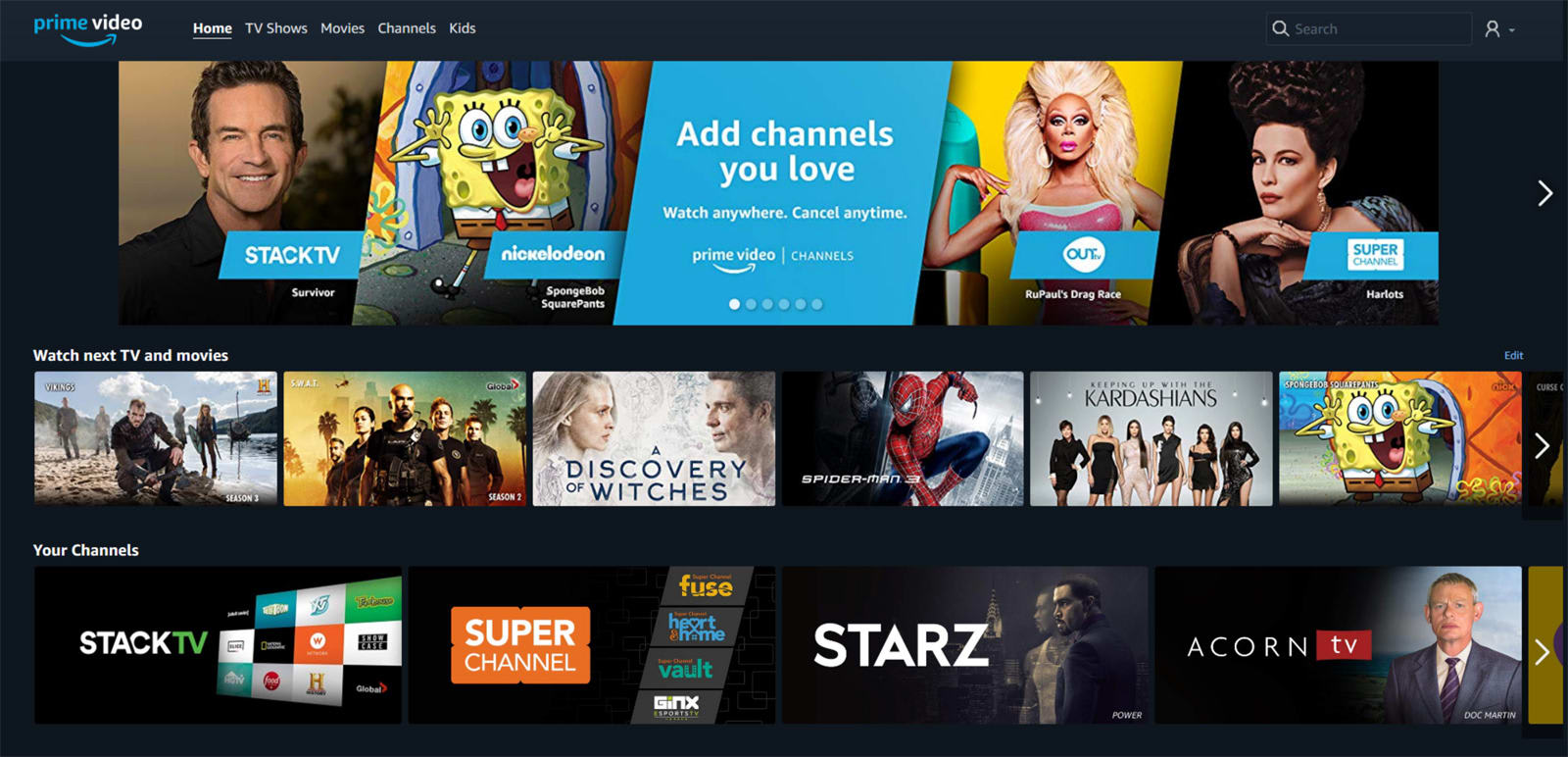 Amazon Prime Video Channels are coming to Canada