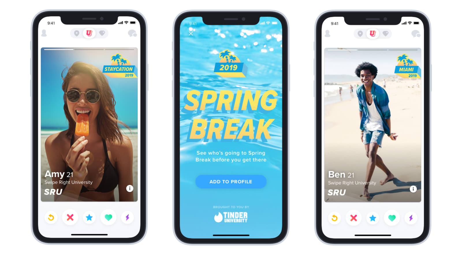 Tinder adds a 'Spring Break' mode for college spring flings