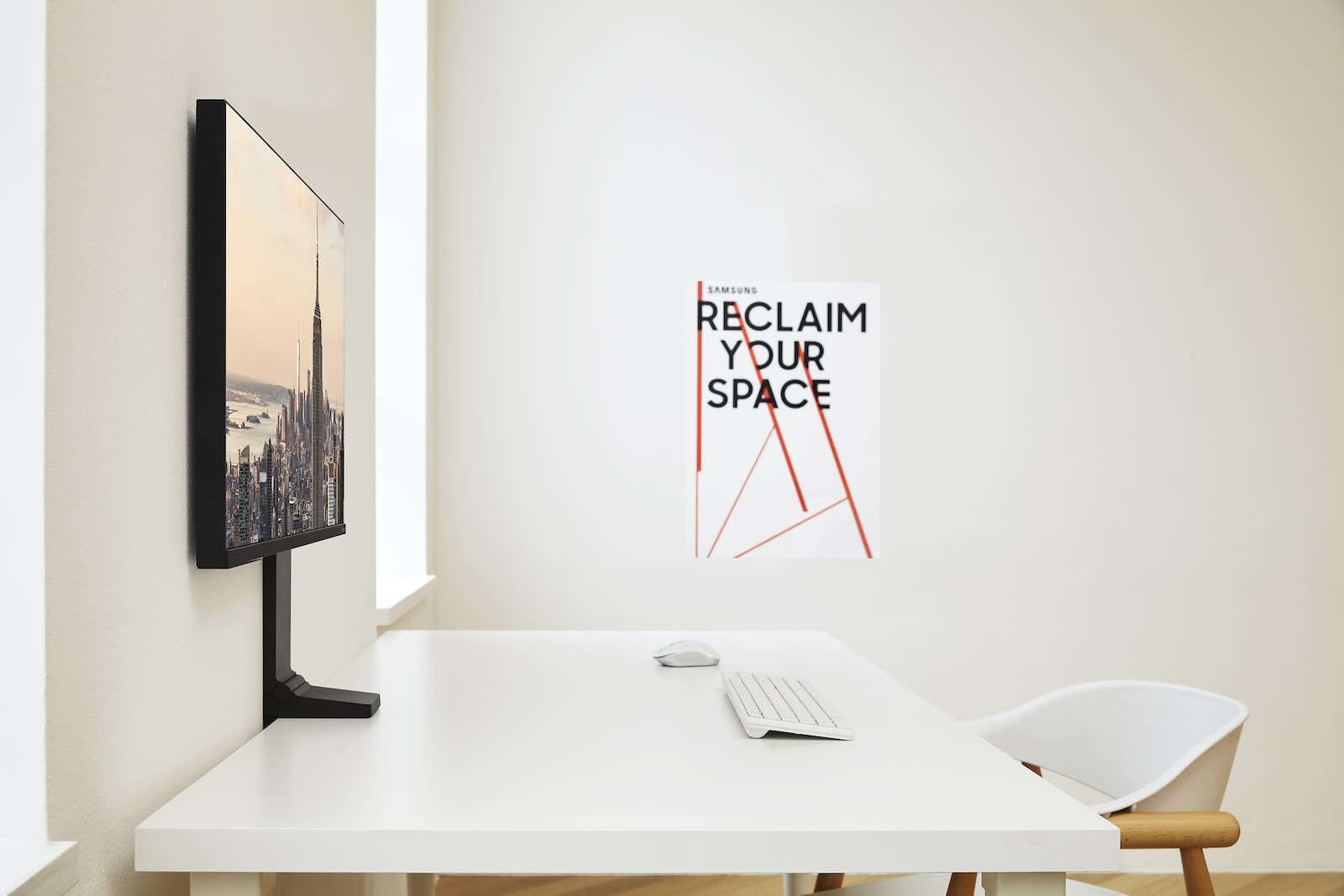 Samsung's space-saving monitor can be pushed flat against the wall