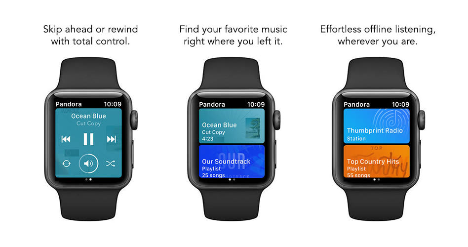 Pandora iOS update adds offline playback for Apple Watch