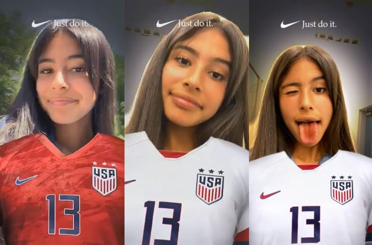 new styles 0fca7 43513 Nike's latest Snapchat Lens shows support for USWNT
