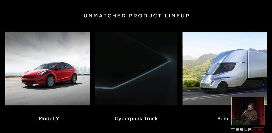 Elon Musk talks up Tesla's 'Cyberpunk truck,' and 400-mile range EVs