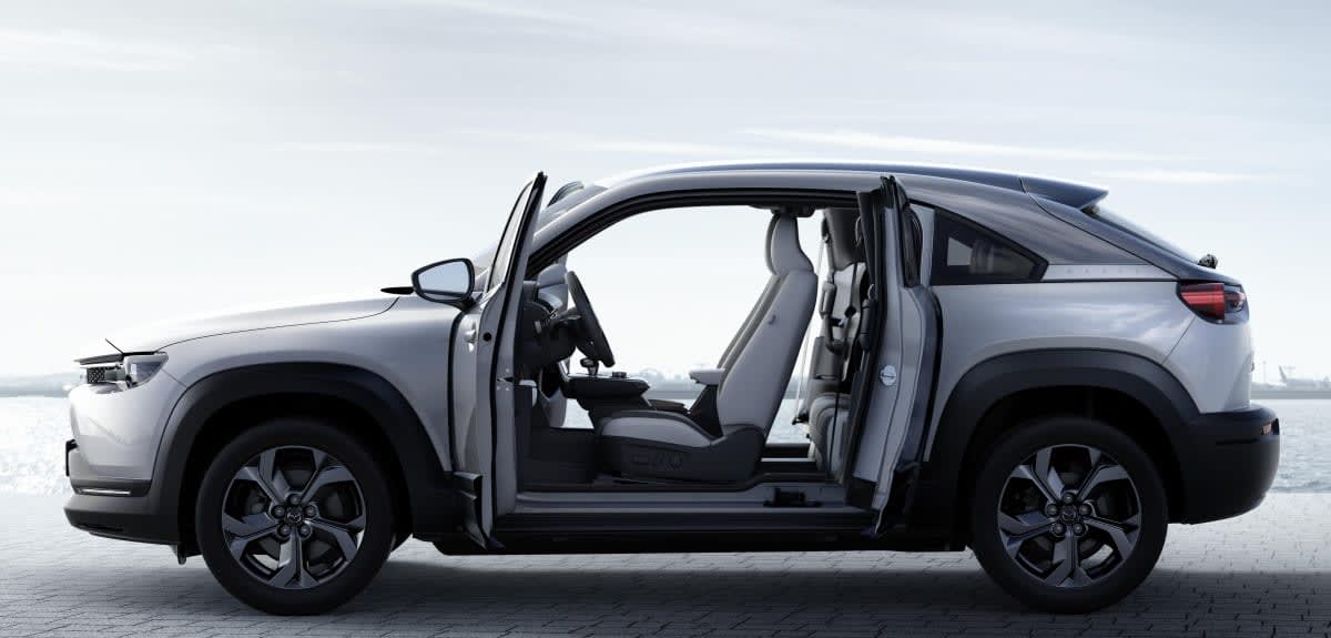 Mazdas First Electric Car Opens Up Thanks To Freestyle Doors