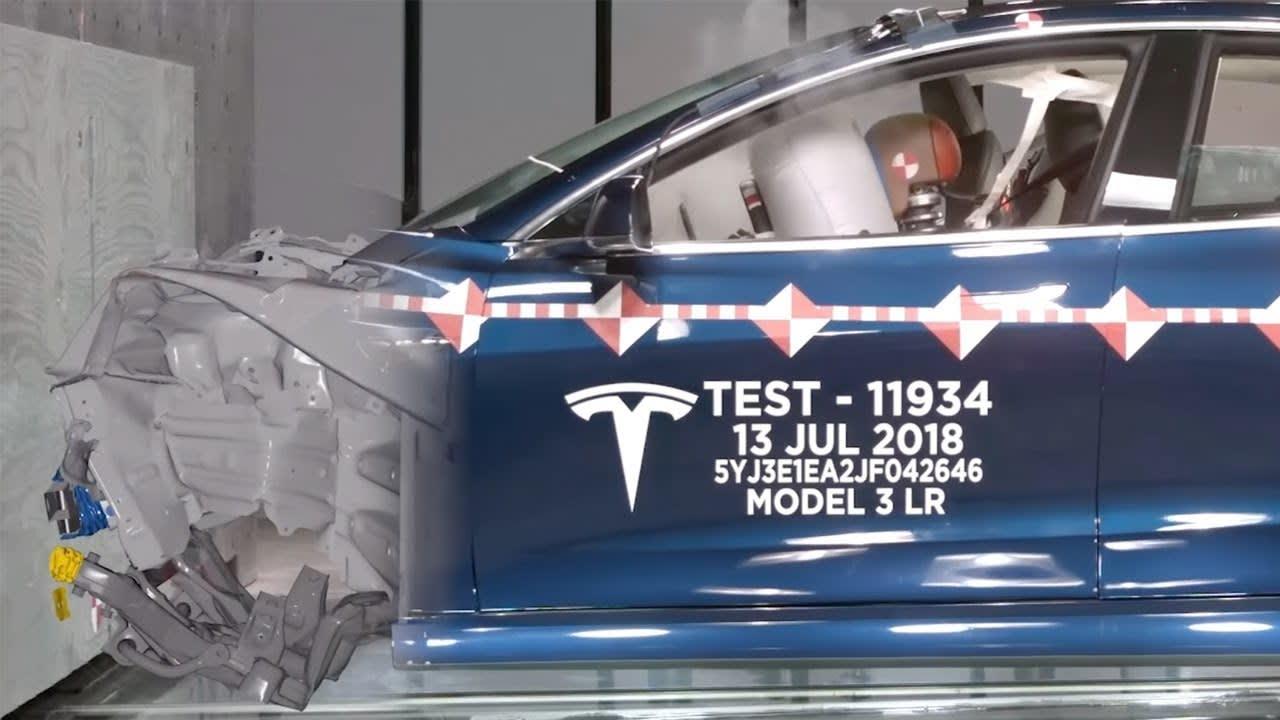 Tesla's crash test lab video shows real and virtual Model 3 wrecks