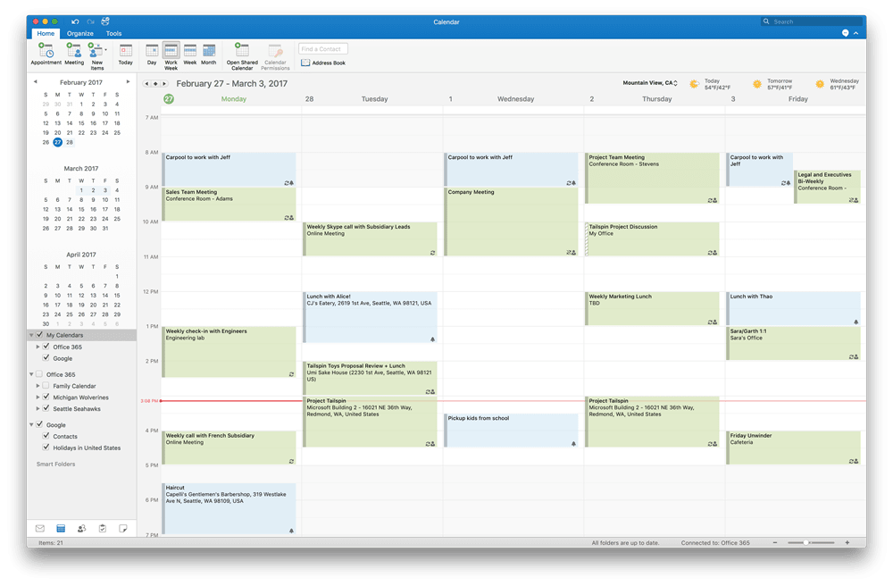 Outlook 2016 for Mac now supports Google Calendar and Contacts