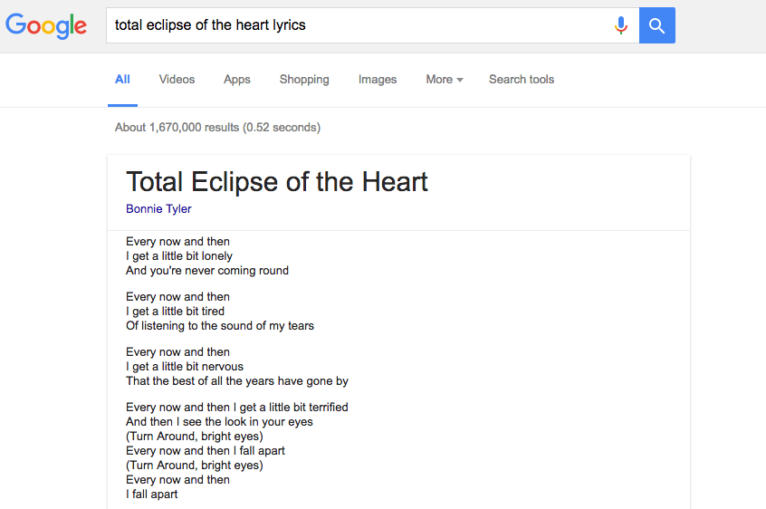 Google adds song lyrics to search results