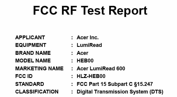 Acer's LumiRead 600 hits the FCC with slow bursts of 2