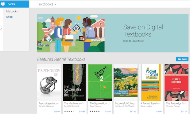 Textbooks now available through Google Play Books in US, iOS