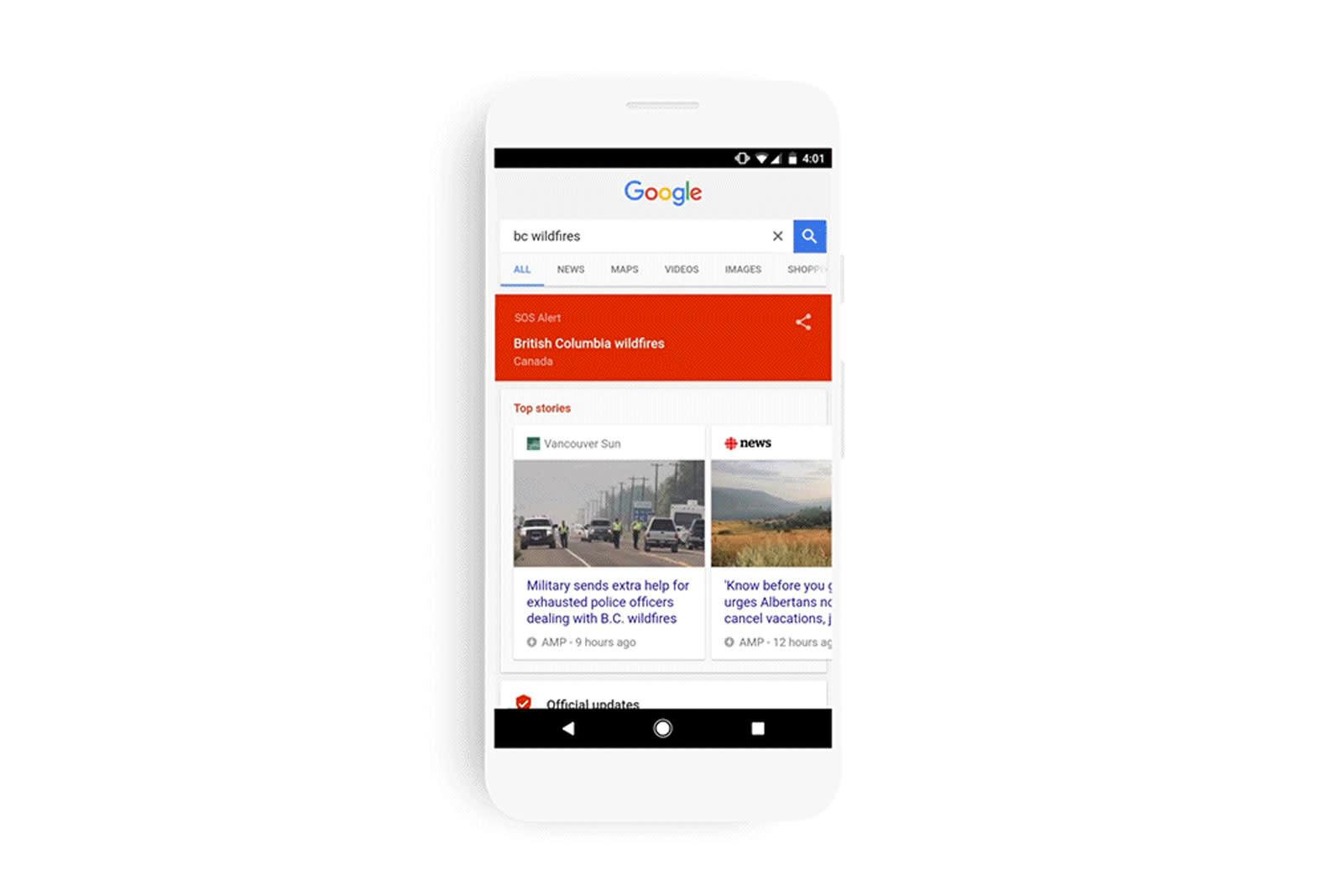 Google Sos Warnmeldung