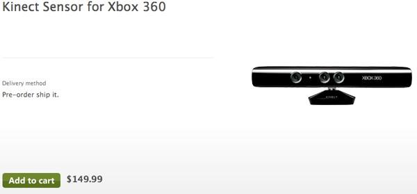 Kinect for Xbox 360 now listed for $150... at Microsoft's
