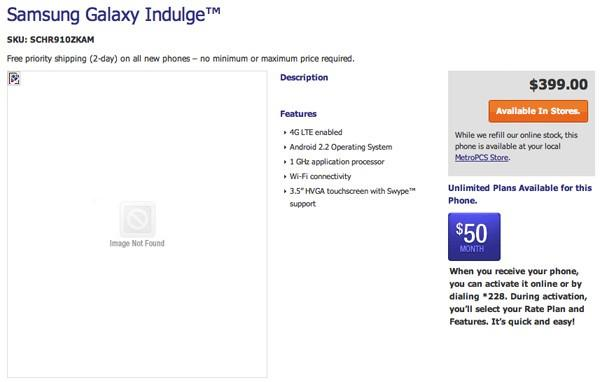Samsung Galaxy Indulge shows up on MetroPCS: LTE, Android