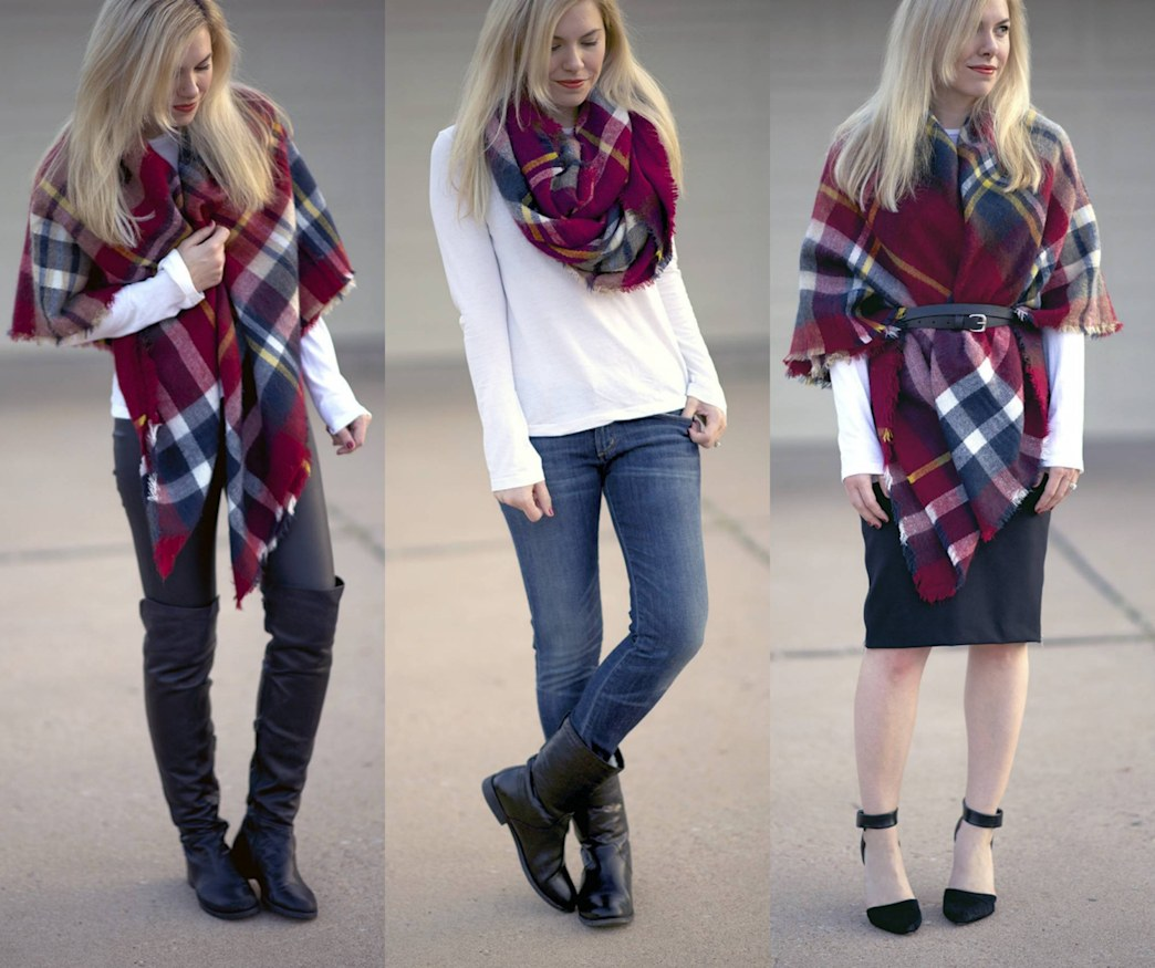 How to style a plaid blanket scarf