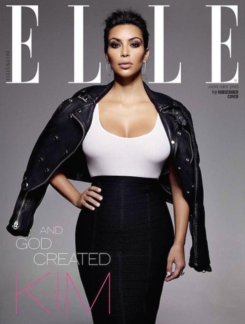 Kim Kardashian gets dressed for Elle UK