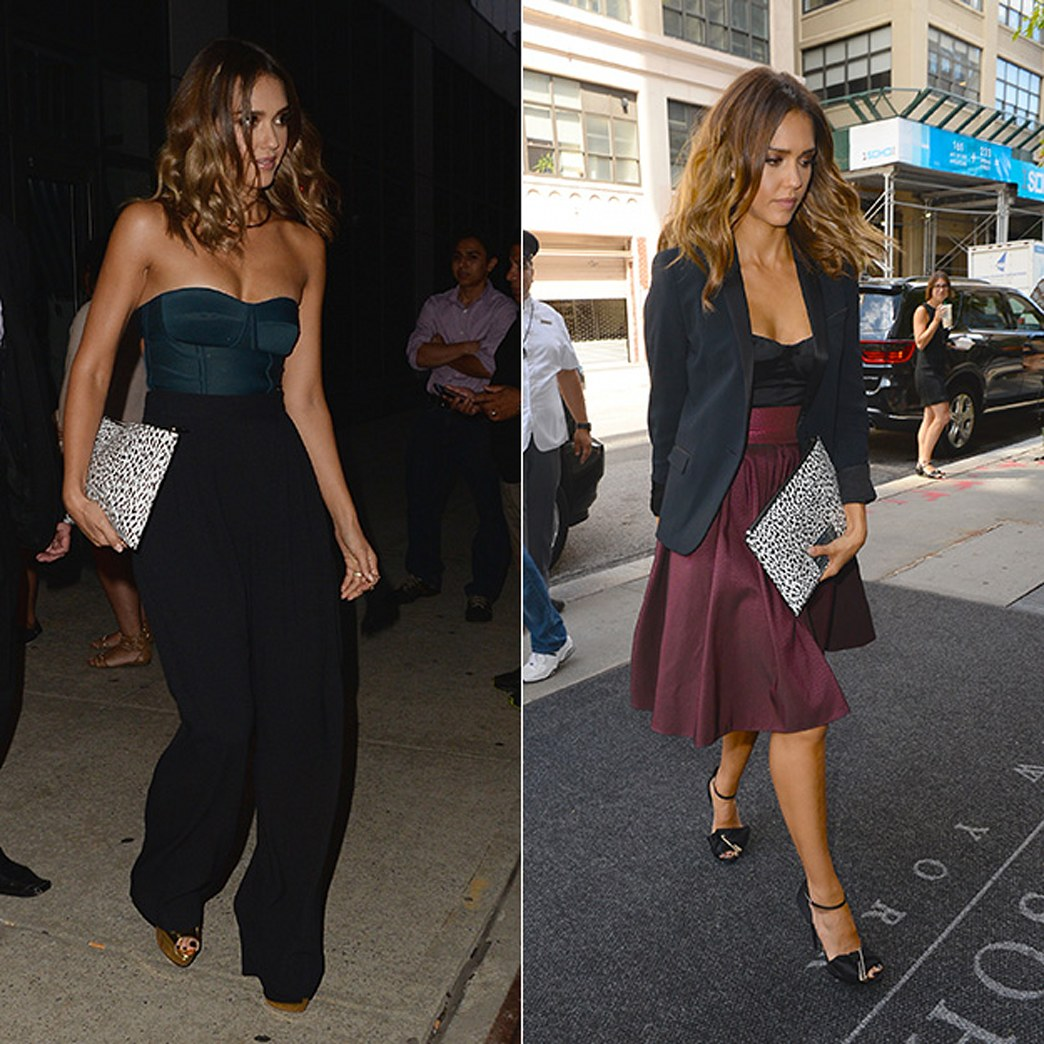 Jessica Alba smolders in two bustiers in NYC — Which do you like best?
