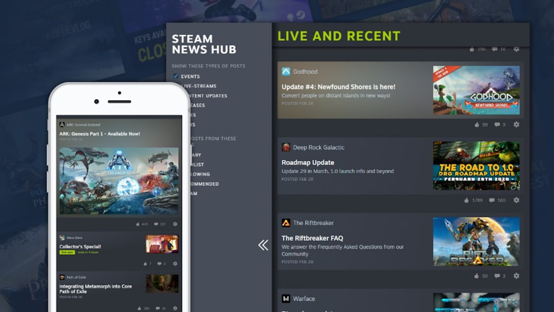 Steam's personalized news hub keeps you updated about your games