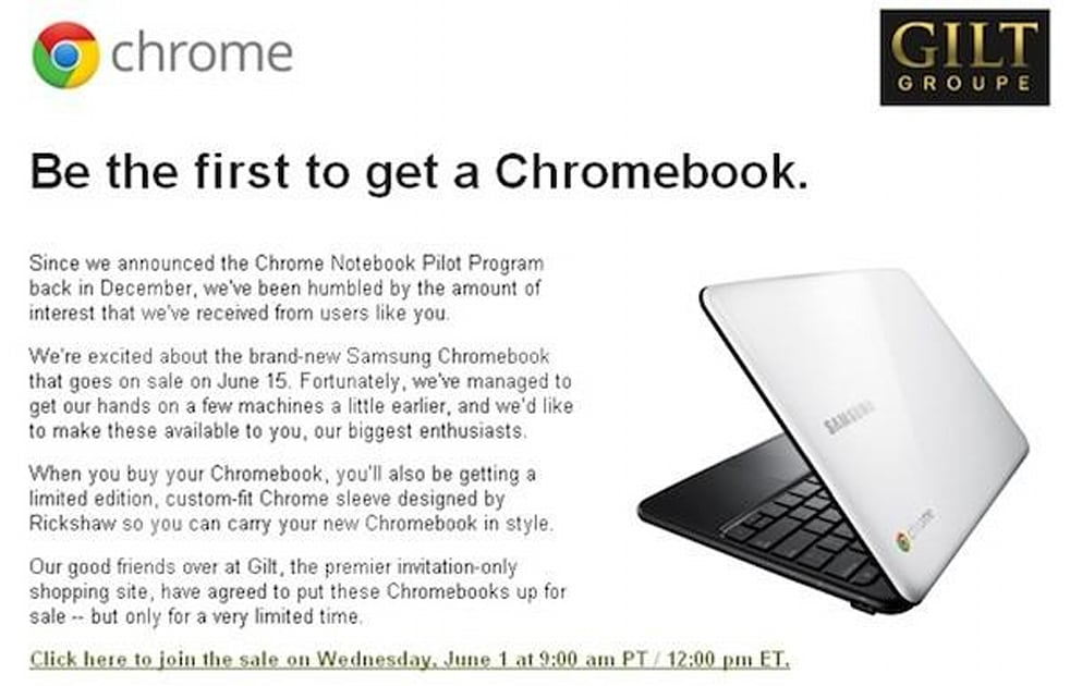 Samsung Chromebook Goes On Early