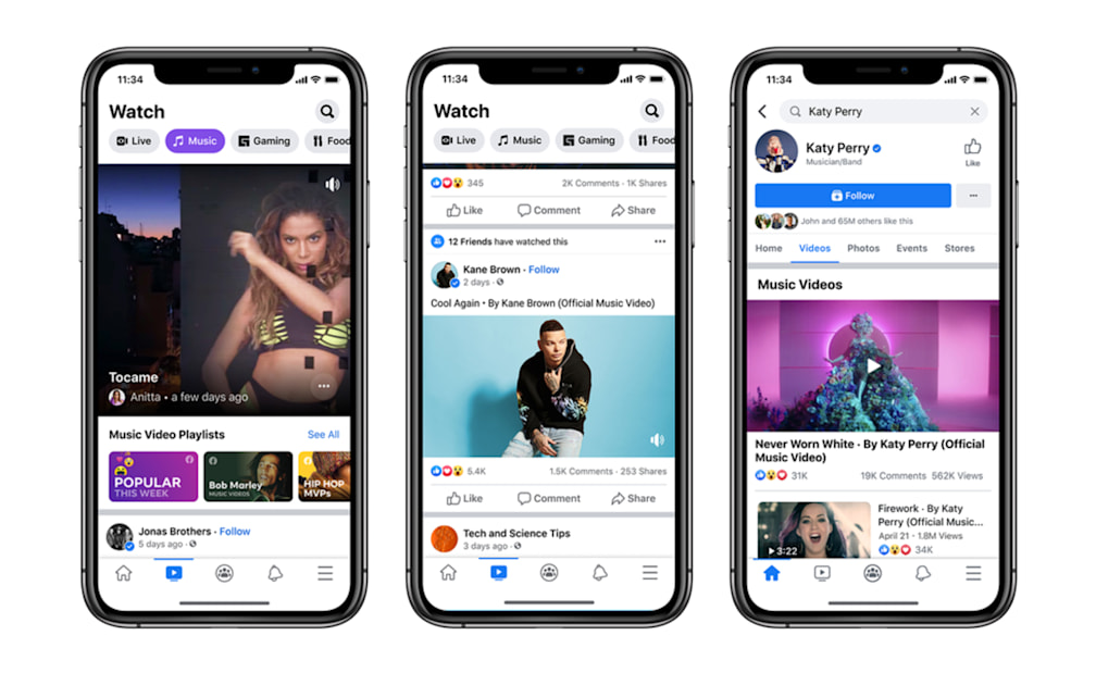 Facebook adds official music videos to News Feed and Watch