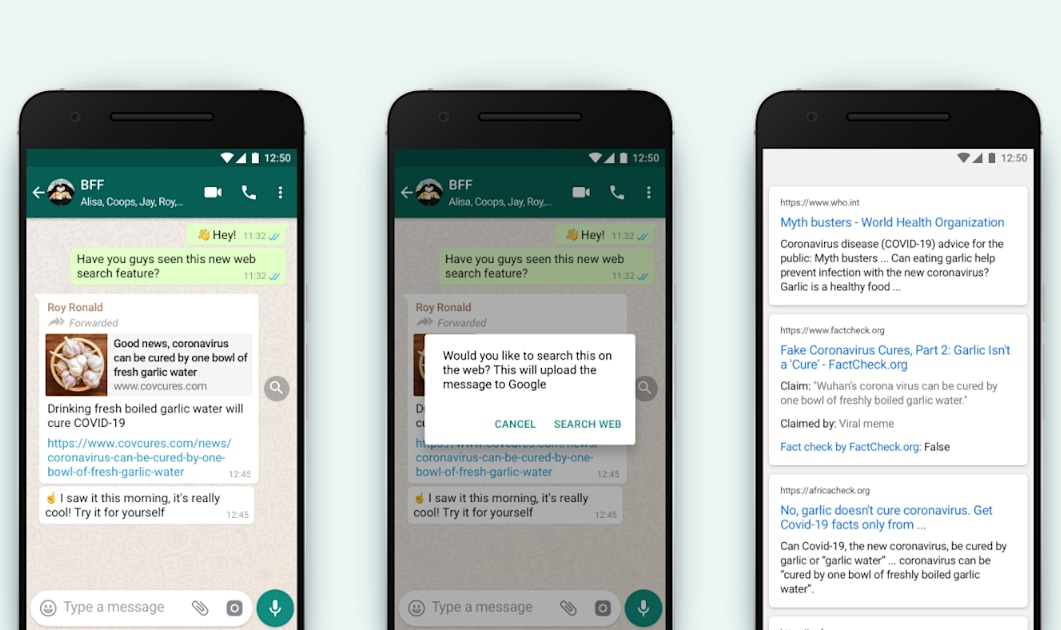 WhatsApp makes it easier to fact-check forwarded messages