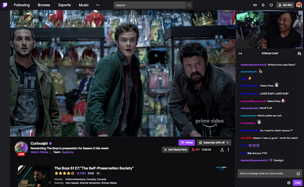 Twitch's Prime Video watch parties are now available to everyone